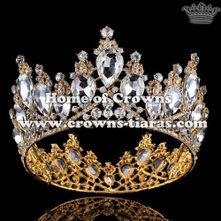 Large Full Round Blue Diamond Pageant Crowns Silver Plated