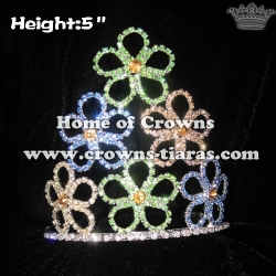 5inch Flower Crystal Pageant Spring Crowns