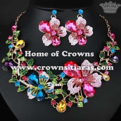 Pink Rose Flowers Crystal Necklace Set