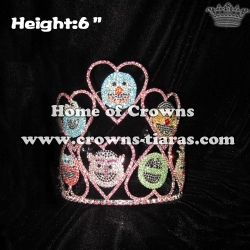 Heart Crystal Pageant Crowns With Characters