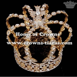 Full Round Gold Diamond Pageant Queen Crowns