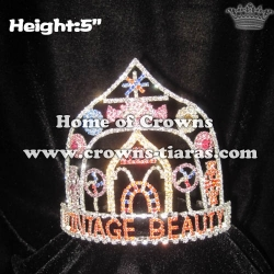 Crystal Candy Cane Pageant Crowns With Pinwheel