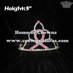 3inch Pink Ribbon Rhinestone Pageant Tiaras