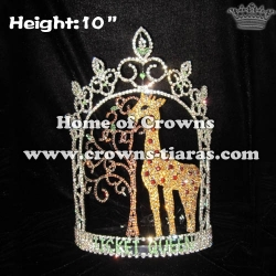 Wholesale Custom Crystal Giraffe Pageant Ticket Queen Crowns