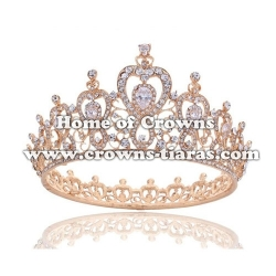 Full Round Pageant Queen Crowns In Rose Gold