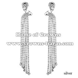 Large Long Crystal Rhinestone Bridal Earrings
