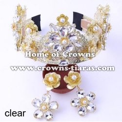 Luxury Wedding Tiaras With Diamond Flowers