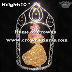 Crystal Unique Princess Crowns With Colored Diamonds