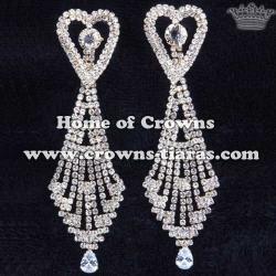 Unique Rhinestone Heart Shaped Bridal Earrings