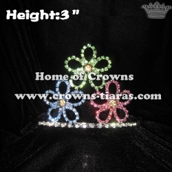 Flower Shaped Rhinestone Crowns