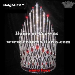 Crystal Pageant Queen Crown With Red Diamond