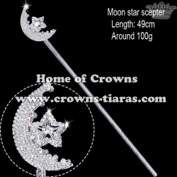 Rhinestone Moon Star Pageant Scepter