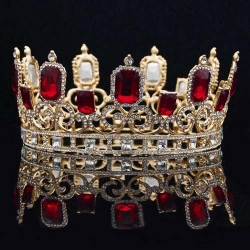 Large Full Round Pageant Crowns With Red Diamonds