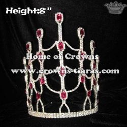 8in Height Pink Diamond Crystal Pageant Queen Crowns