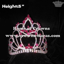 5inch Height Crystal AB Crowns With Pink Diamonds