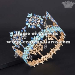 High Quality Crystal Miss World International Pageant Crowns With Dangle Diamonds