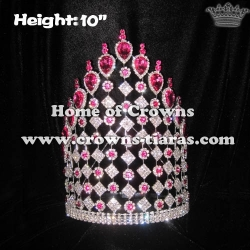 10in Height Pink Diamond Pageant Crowns