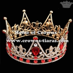Gorgeous Pageant Full Round Queen Crowns With Red Diamonds