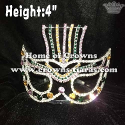 Crystal Mardi Gras Pageant Crowns With Mask Shaped