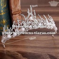 Spike Leaf Crystal Wedding Crowns Tiaras With Pearls
