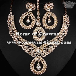 Heart Shaped Crystal Wedding Necklace Sets
