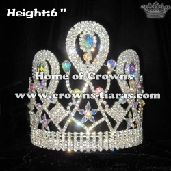 6in Crystal Pageant Crowns With AB Diamonds
