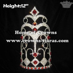 12inch Height Big Pageant Crowns With Red Diamonds