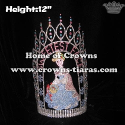 12in Height Crystal Custom Pageant Queen Crowns With Snowflakes