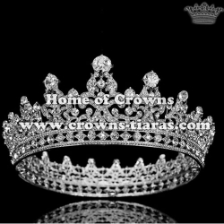 Crystal Full Round Pageant Queen Crowns With Diamonds