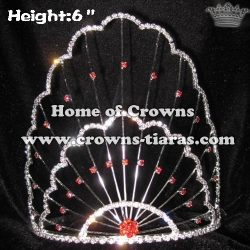 6inch Unique Pageant Crowns With Red Diamond