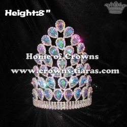 8in Height Rhinestone Pageant Queen Crowns With AB Diamonds