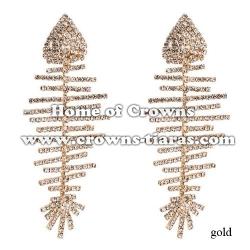 Fish Shaped Rhinestone Big Queen Earrings