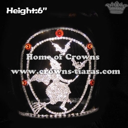 Halloween Crystal Pageant Crowns With Witch And Bat