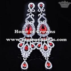 Wedding Earrings With Red Diamonds