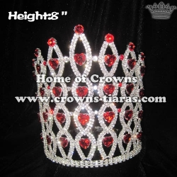 8in Height Crystal Pageant Crowns With Red Diamonds