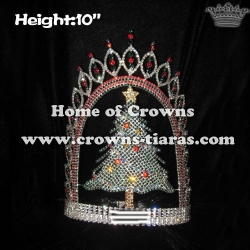 10in Height Rhinestone Christmas Crowns With Christmas Tree Star