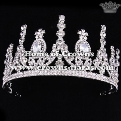 Crystal Pageant Princess Crowns In Silver Plated