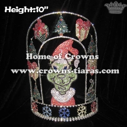 Wholesale Crystal Grinch Pageant Crowns With Christmas Tree