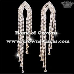 Silver Big Long Rhinestone Bridal Earrings