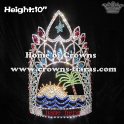 Crystal Pageant Crowns With Summer Beach Plam Tree