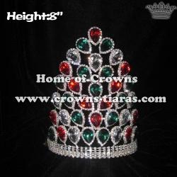 8inch Peacock Colored Big Diamond Crowns