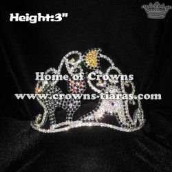 3in Ghost Halloween Pageant Crowns With Black Cat