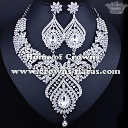 Fashion Alloy Crystal Party Princess Necklace Set