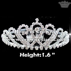 Double Heart Crystal Rhinestone Pageant Crowns