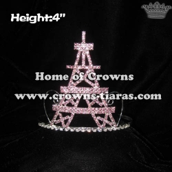 4in Height Pink Crystal Eiffel Tower Crowns
