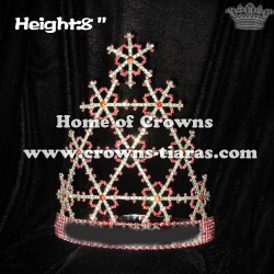 8in Height Rhinestone Snowflake Christmas Pageant Crowns
