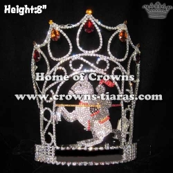 8in Height Crystal Wholesale Unicorn Pageant Crowns