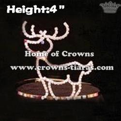 4inch Deer Shaped Rhinestone Christmas Crowns