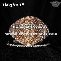 American Football Shaped Crystal Rhinestone Crowns