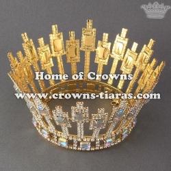 Pageant Full Round Princess Crowns With Big AB Diamond